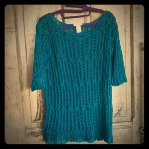 Sundance linen openweave short sleeve teal sweater